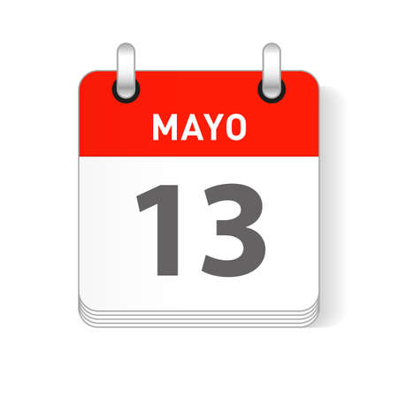 Mayo 13, May 13 date visible on a page a day organizer calendar in spanish Language