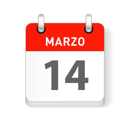 Marzo 14, March 14 date visible on a page a day organizer calendar in spanish Language