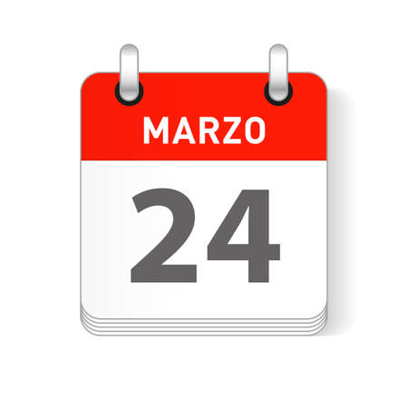 Marzo 24, March 24 date visible on a page a day organizer calendar in spanish Language