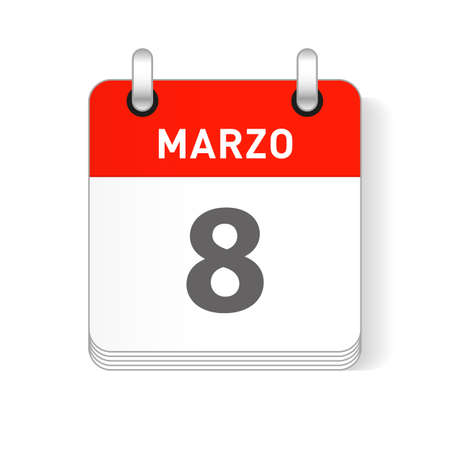 Marzo 8, March 8 date visible on a page a day organizer calendar in spanish Language