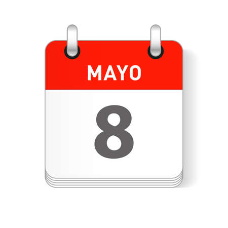 Mayo 8, May 8 date visible on a page a day organizer calendar in spanish Language