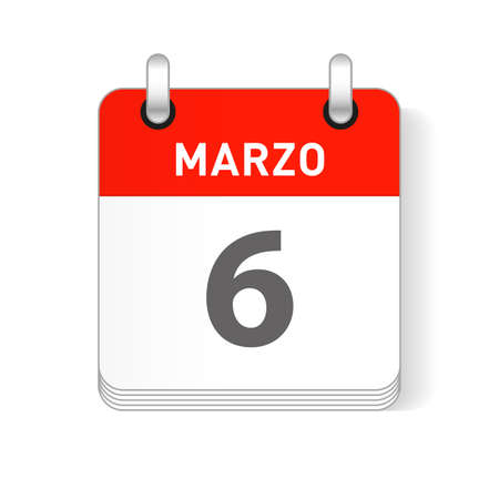 Marzo 6, March 6 date visible on a page a day organizer calendar in spanish Language
