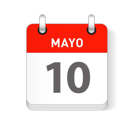 Mayo 10, May 10 date visible on a page a day organizer calendar in spanish Language