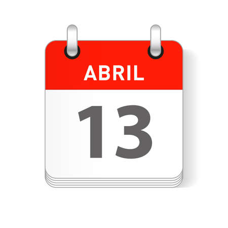 Abril 13, April 13 date visible on a page a day organizer calendar in spanish Language