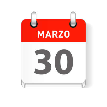 Marzo 30, March 30 date visible on a page a day organizer calendar in spanish Language  イラスト・ベクター素材