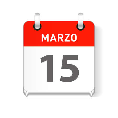 Marzo 15, March 15 date visible on a page a day organizer calendar in spanish Language