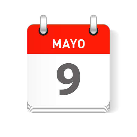 Mayo 9, May 9 date visible on a page a day organizer calendar in spanish Language Ilustração