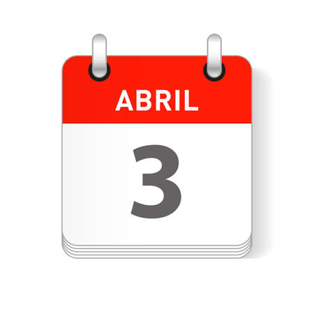 Abril 3, April 3 date visible on a page a day organizer calendar in spanish Language