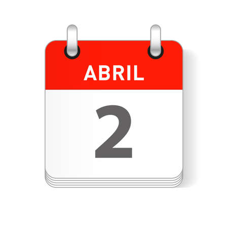 Abril 2, April 2 date visible on a page a day organizer calendar in spanish Language