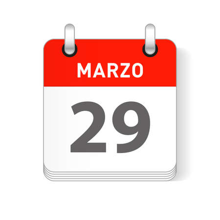 Marzo 29, March 29 date visible on a page a day organizer calendar in spanish Language