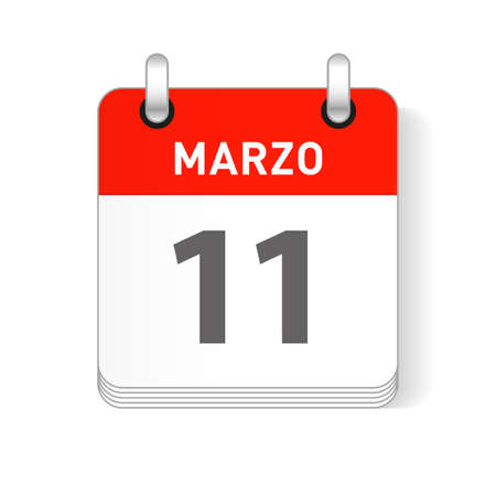 Marzo 11, March 11 date visible on a page a day organizer calendar in spanish Language