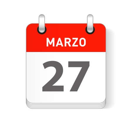 Marzo 27, March 27 date visible on a page a day organizer calendar in spanish Language
