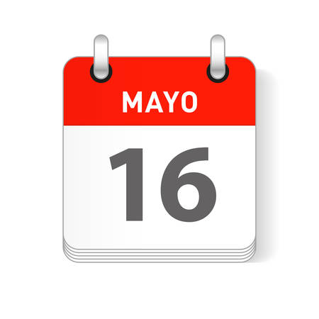 Mayo 16, May 16 date visible on a page a day organizer calendar in spanish Language