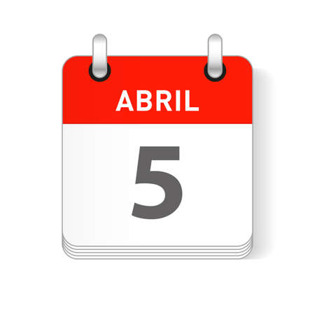Abril 5, April 5 date visible on a page a day organizer calendar in spanish Language