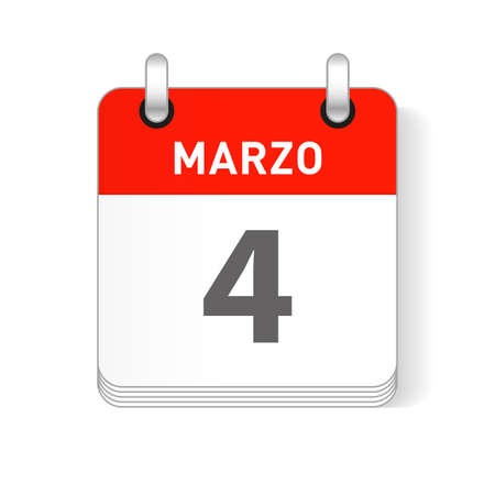 Marzo 4, March 4 date visible on a page a day organizer calendar in spanish Language