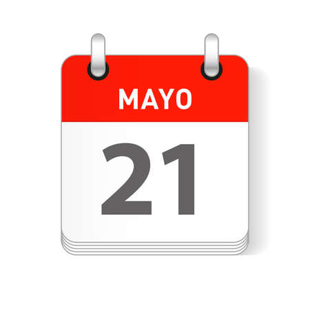 Mayo 21, May 21 date visible on a page a day organizer calendar in spanish Language