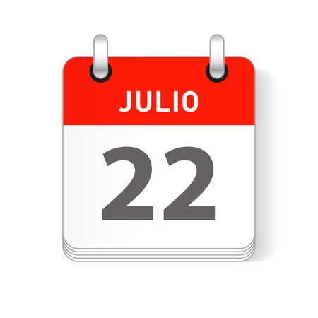 Julio 22, July 22 date visible on a page a day organizer calendar in spanish Language