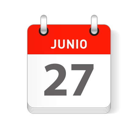 Junio 27, June 27 date visible on a page a day organizer calendar in spanish Language