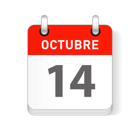 Octuber 14, October 14 date visible on a page a day organizer calendar in spanish Language