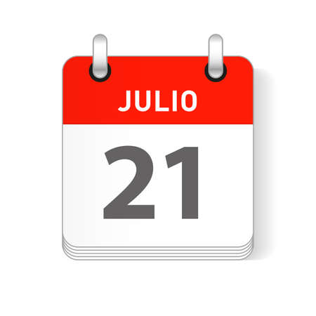 Julio 21, July 21 date visible on a page a day organizer calendar in spanish Language