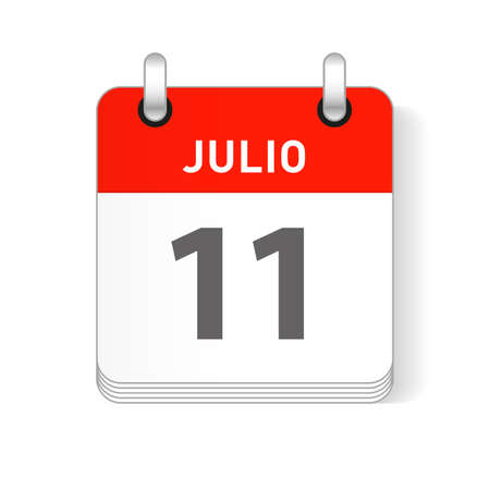 Julio 11, July 11 date visible on a page a day organizer calendar in spanish Language