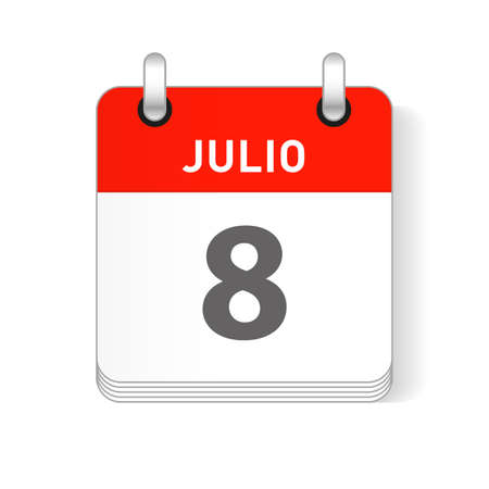 Julio 8, July 8 date visible on a page a day organizer calendar in spanish Language