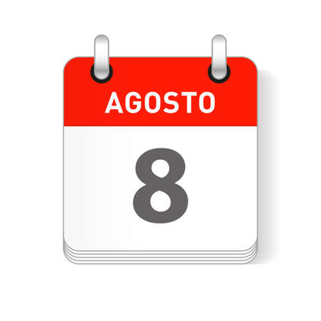 Agosto 8, August 8 date visible on a page a day organizer calendar in spanish Language Ilustração