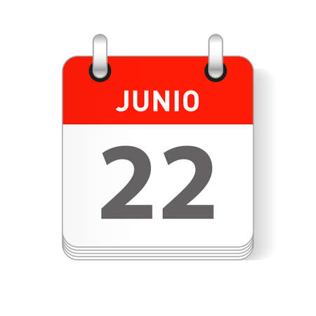Junio 22, June 22 date visible on a page a day organizer calendar in spanish Language