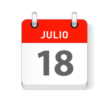 Julio 18, July 18 date visible on a page a day organizer calendar in spanish Language