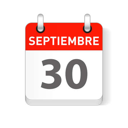 Septiembre 30, September 30 date visible on a page a day organizer calendar in spanish Language