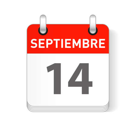 Septiembre 14, September 14 date visible on a page a day organizer calendar in spanish Language