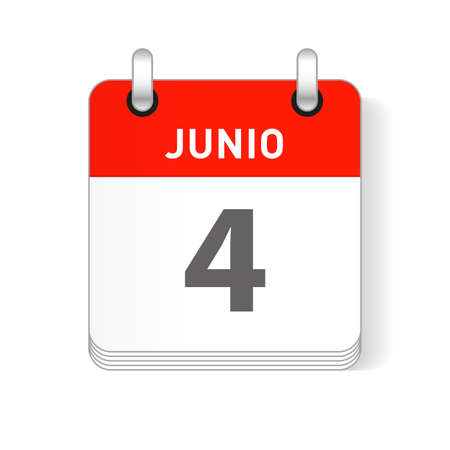 Junio 4, June 4 date visible on a page a day organizer calendar in spanish Language