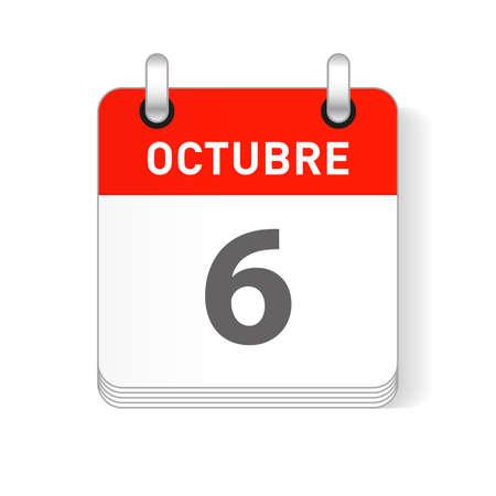 Octuber 6, October 6 date visible on a page a day organizer calendar in spanish Language Ilustração