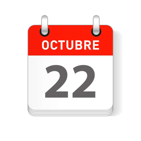 Octuber 22, October 22 date visible on a page a day organizer calendar in spanish Language