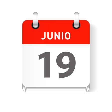 Junio 19, June 19 date visible on a page a day organizer calendar in spanish Language Ilustração