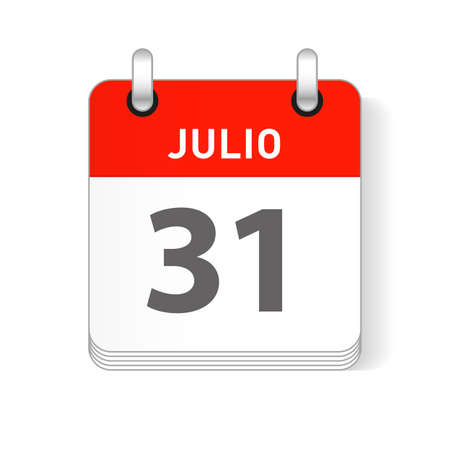 Julio 31, July 31 date visible on a page a day organizer calendar in spanish Language Ilustração