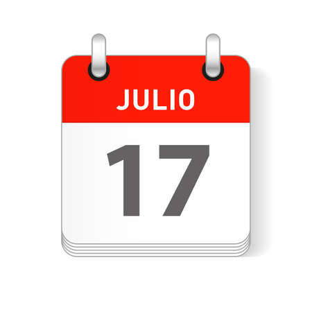 Julio 17, July 17 date visible on a page a day organizer calendar in spanish Language