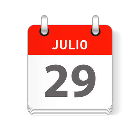 Julio 29, July 29 date visible on a page a day organizer calendar in spanish Language