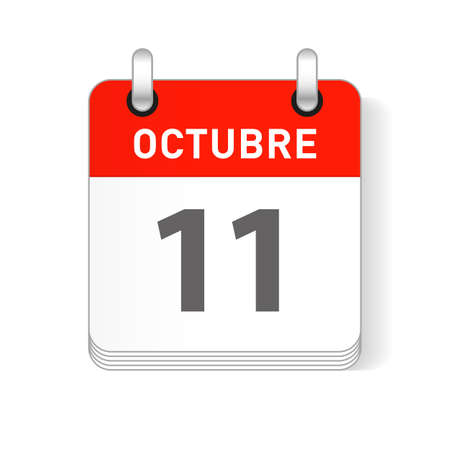 Octuber 11, October 11 date visible on a page a day organizer calendar in spanish Language Ilustração