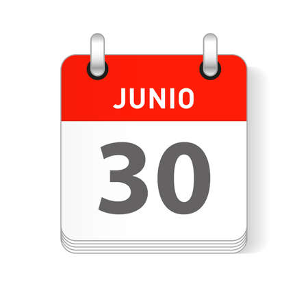 Junio 30, June 30 date visible on a page a day organizer calendar in spanish Language