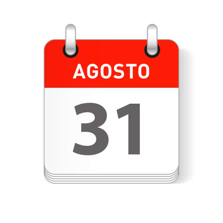 Agosto 31, August 31 date visible on a page a day organizer calendar in spanish Language Ilustração