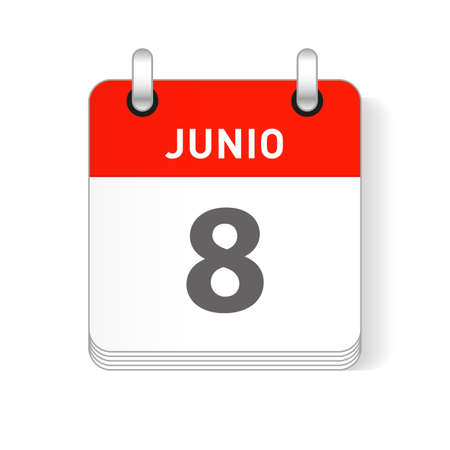 Junio 8, June 8 date visible on a page a day organizer calendar in spanish Language Ilustração