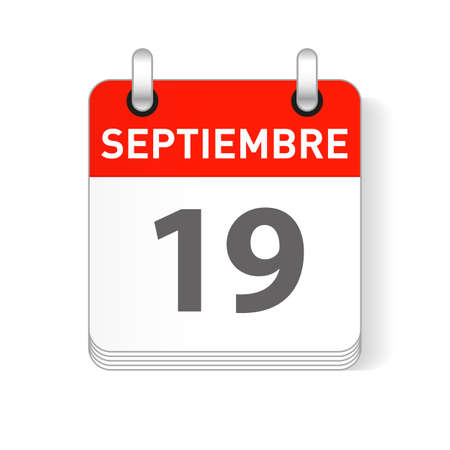 Septiembre 19, September 19 date visible on a page a day organizer calendar in spanish Language