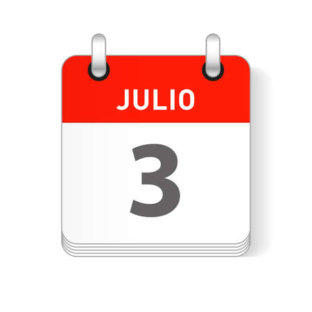 Julio 3, July 3 date visible on a page a day organizer calendar in spanish Language Ilustração