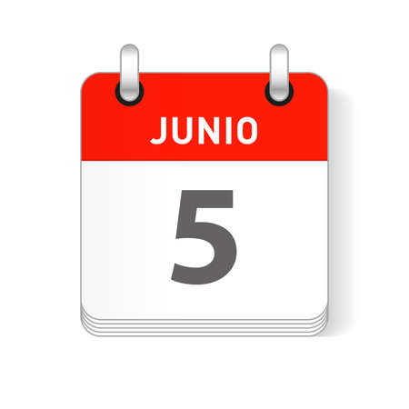 Junio 5, June 5 date visible on a page a day organizer calendar in spanish Language Ilustração