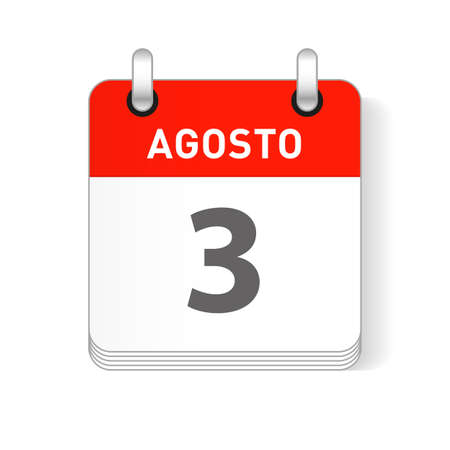 Agosto 3, August 3 date visible on a page a day organizer calendar in spanish Language Ilustração