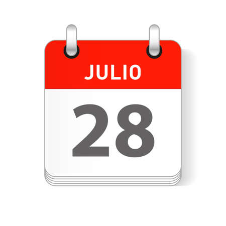 Julio 28, July 28 date visible on a page a day organizer calendar in spanish Language