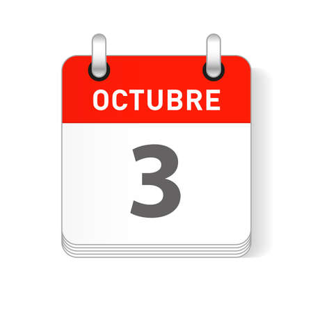 Octuber 3, October 3 date visible on a page a day organizer calendar in spanish Language Ilustração