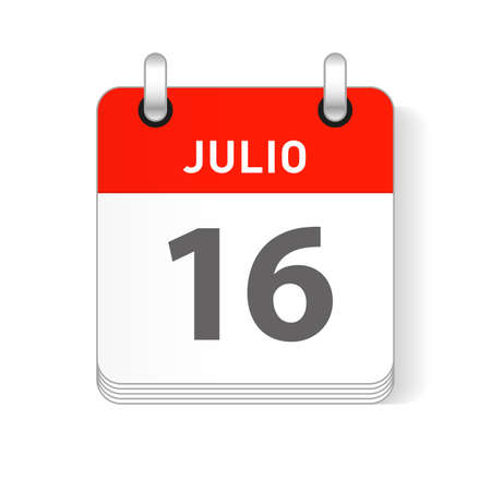 Julio 16, July 16 date visible on a page a day organizer calendar in spanish Language Ilustração