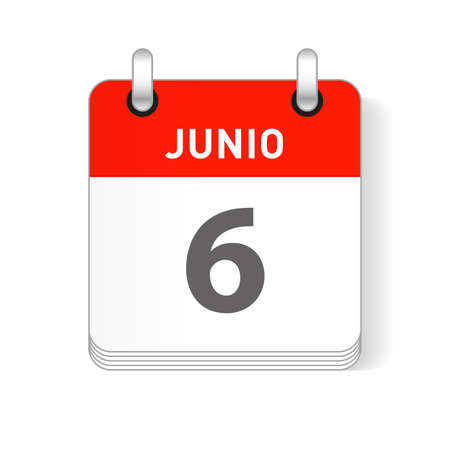 Junio 6, June 6 date visible on a page a day organizer calendar in spanish Language